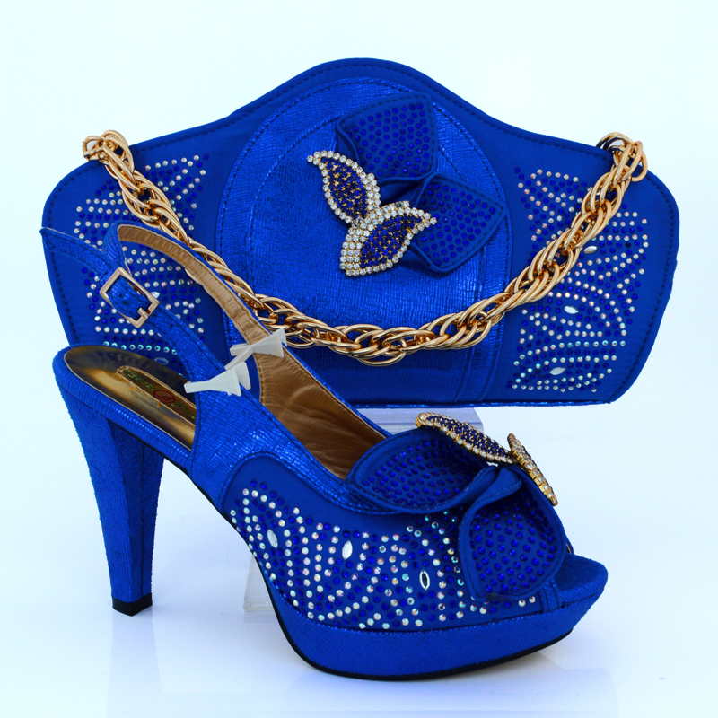Royal blue Fantastic lady high heel shoes italian shoes and bag set MM1015
