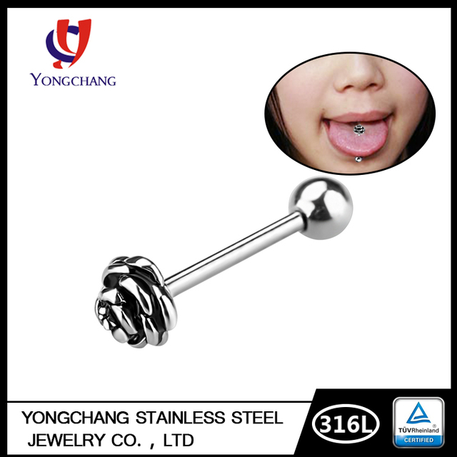 Fashion tongue ring rose shape tongue stud body piercing jewelry for beautiful woman girls