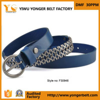 Hot Sale Pu Belt Blue Silve