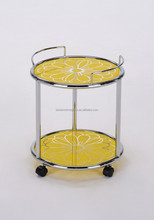 High Quality Fashion Design Yellow glass service trolley cart