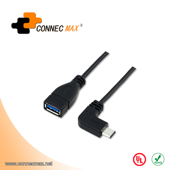 Type-C to USB 3.0 Type AF right angle 90 degree Data Cable for Computers and Tablets