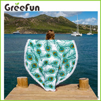 2016 Amazon Hot Sale China Supplier Big Enough For Two Peacock Feather Round Beach Towel