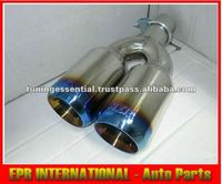 For Universal Stainless Steel E002 Muffler Exhaust Blue Dual Tip Double Layer E39 E90