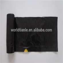 HDPE/LDPE black plastic drawstring trash bag in roll for garbage bin liners