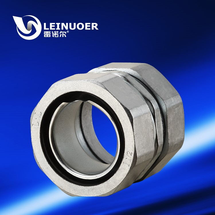 Circlip self secured union zinc alloy connector joint fitting for flexible conduit