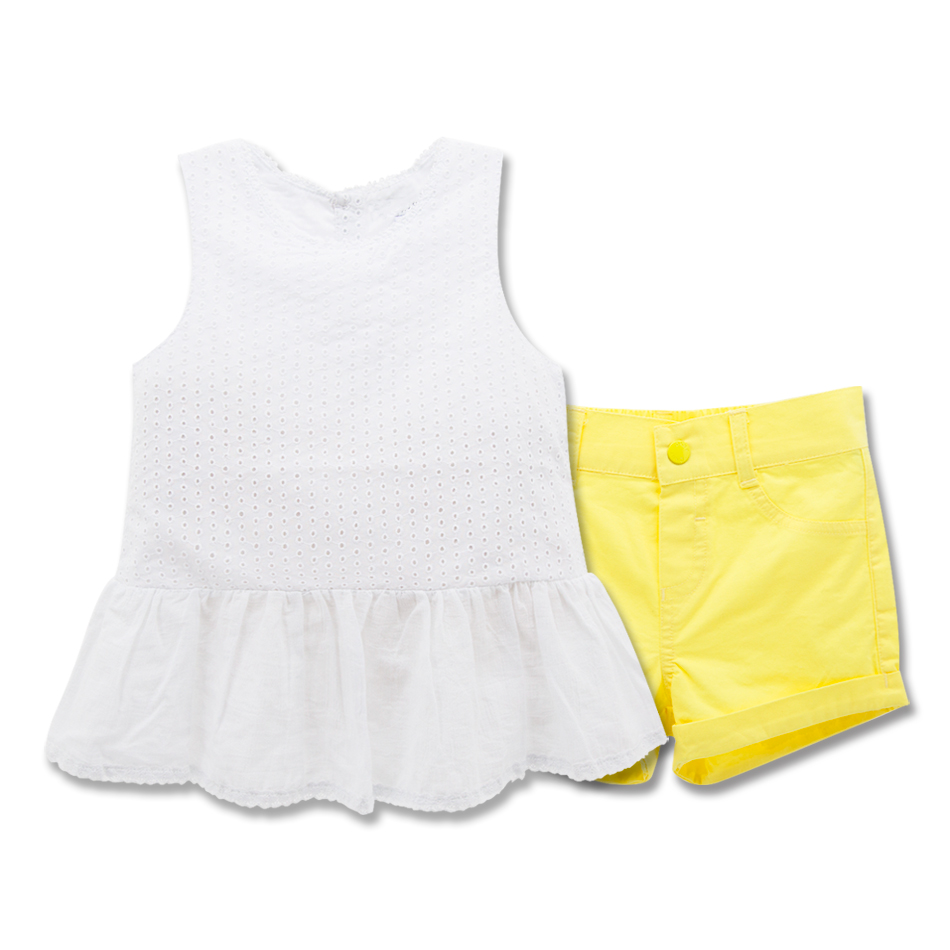 Hot Sale Kids Girl Dress Set Plain Design Summer 100% Cotton 1-6T Baby Wear