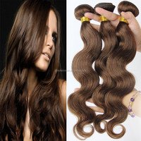 Light Brown Peruvian Hair Body Wave, 8A Grade Honey Brown Hair Weave, Remy Human Hair Extensions Color 4#