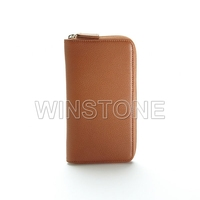 Zippered real leather checkbook cover card holder wallet