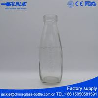RUNJIE clear thin glass milk bottle 500ml