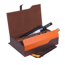 2 bottles pu leather wine box for wholesale