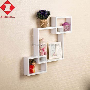 3 Pcs interlocking MDF wood wall cube organizer shelves storage