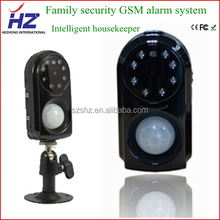 PIR alarm by picture/ video recording/ voice call gsm alarm system with camera