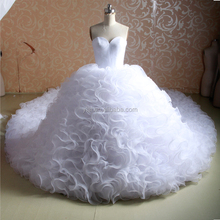J--0055 vestidos de novia expensive organza sleeveless very long train ruffles white wedding dress Suzhou