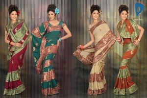 Faux Georgette saree in different colors