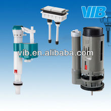 Toilet tank fittings of toilet adjustable inlet valve and dual outlet valve