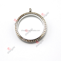 High Quality Crystal 316L Stainless Steel Charms Floating Locket