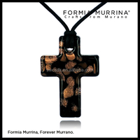 Black cross murano glass necklace with sand gold