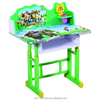 new design green wooden kids furniture table and chair for playing