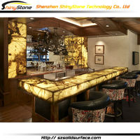 Translucent lighting top design artificial marble/stone solid surface led table bar