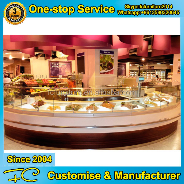 Bakery shop design stainless steel food counter bakery display cabinet