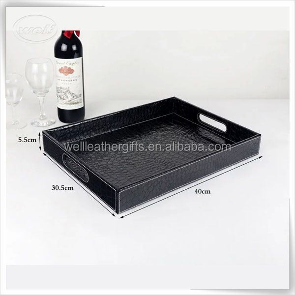 Unique luxury PU leather home hotel wood serving tray