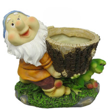 wholesale high quality stone resin garden gnome planter for decor