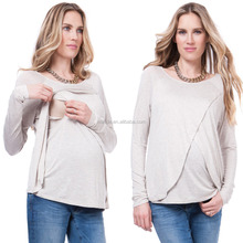 China Clothing Agent Pregnant Women Maternity Nursing Tops Plus Size Tunic Wholesale Manufacturer Wrap Tops