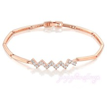 Lady Dress Wave Shape Rose Golden Thin Chain Austria Crystal 14K Gold Filled Bangle Bracelet