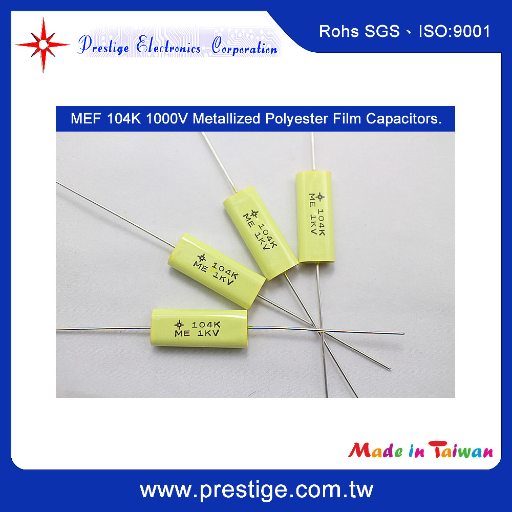 High Quality MEF Flat Oval Type 104K 1000V Hight Voltage Metallized Polyester Film Capacitors
