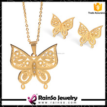 Good business partner fashion butterfly jewelry set cheap price