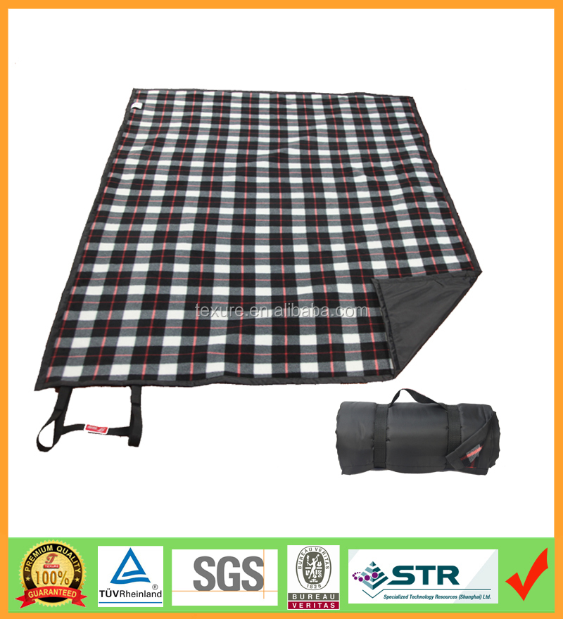 "50""x58"" Portable Moisture-proof Folding Woven Acylic Camping Picnic Blanket"
