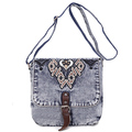 Long strap custom small women denim shoulder bag