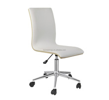 Modern High back Swivel metal leg bentwood seat leather cover office chair with armless
