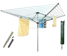 Outdoor Garden 4 Arm 50M Rotary Airer Washing Line Clothes Dryer Metal socket