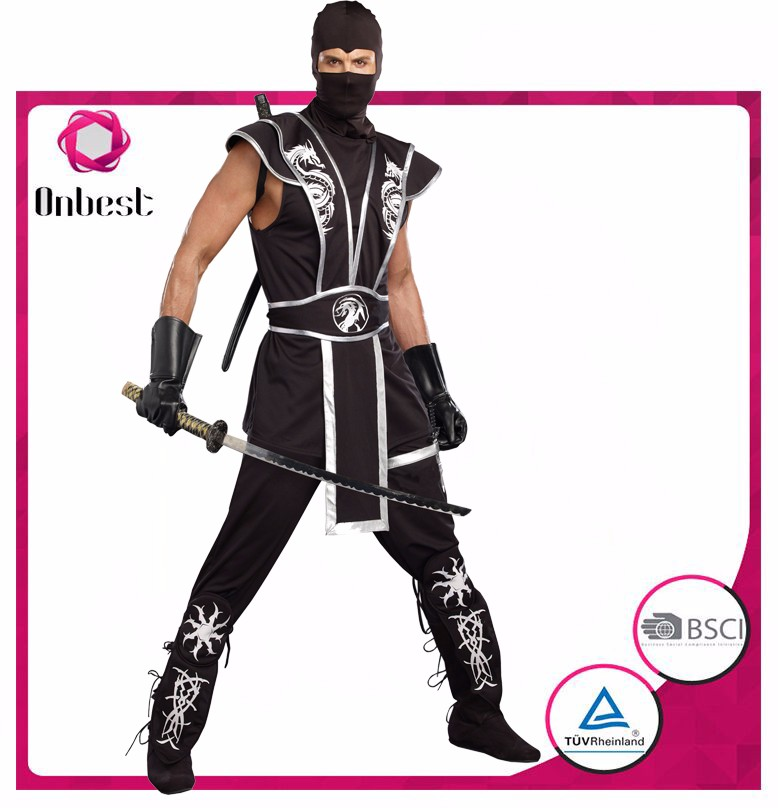 Custom made costumes for adults ninja costume with short sleeve halloween fancy dress costume