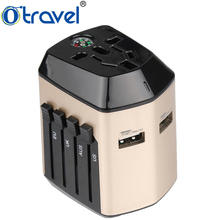 Otravel SL-193 all in one travel accessory EU UK AUS US compass world universal dual usb charger travel adapter kit
