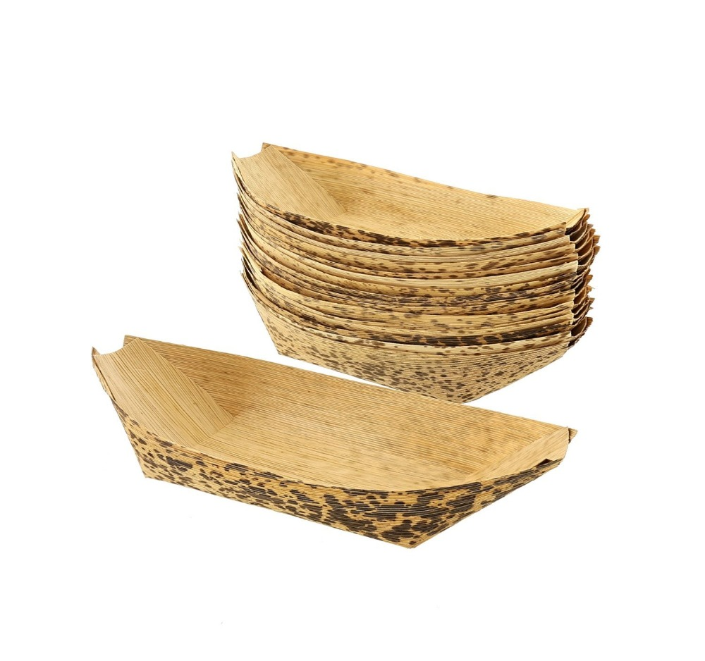 Natural creative kitchen utensils tools kraft bamboo leaf boat plate