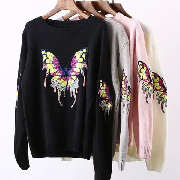 MS71306L 2015 fancy sequin embroidery design ladies tops sweater women 2015