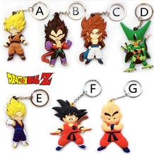 Anime Dragon Ball Monkey Keychain Son Goku Super Saiyan Silicone PVC Keychain action figure pendant Keyring Collection