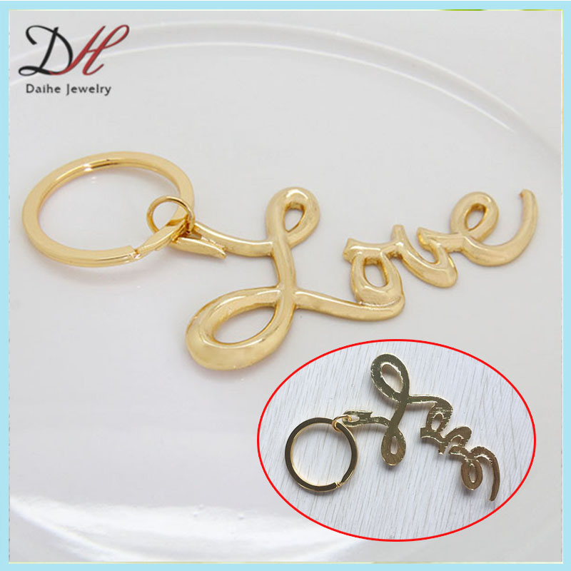 Sex and the City Love Keychain Gold plated LOVE Keychain with Jump Ring #KC2066