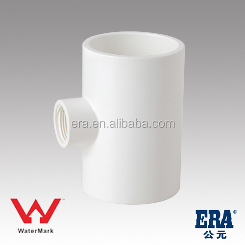 Australian pvc reducing TEE AS/NZ 1477 with water mark for pressure pipe construction material