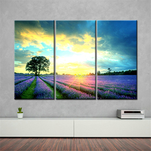 Home Goods Oil Painting 3 Panel Sunrise on Lavender Field Beautiful Natural Scenery Canvas Prints Decoration for Furniture