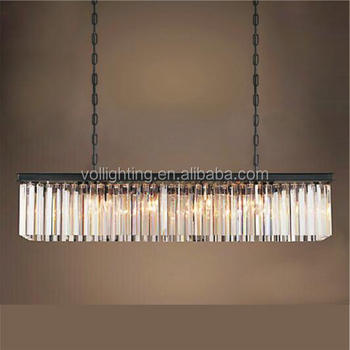 Modern iron pendant lamp crystal stick chandelier light