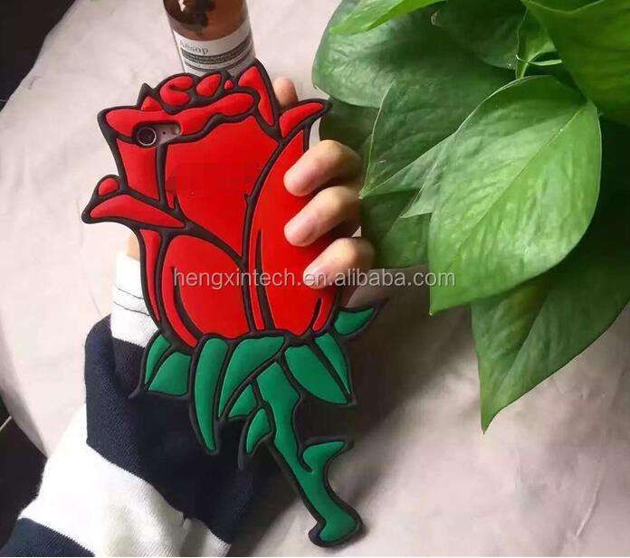 3D Fashion Pink Red Rose Soft Silicone Case for iPhone 7 7plus 6 6s plus Flower Rubber Cover Phone cases