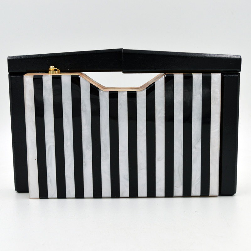 Wood ladies box bag customization new arrival acrylic clutch evening bags