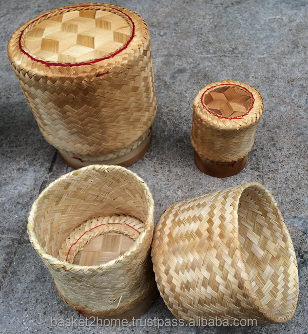 Thailand Handmade glutinous / sticky rice basket container (Kratip), Grade A, Natural bamboo