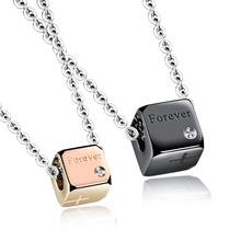 Stainless Steel Love Magic Cube Big Diamond Coupld Pendant Necklace Set For Lovers