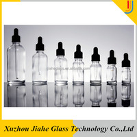 wholesale clear cylinder shape glass essential oil e-liquid bottle