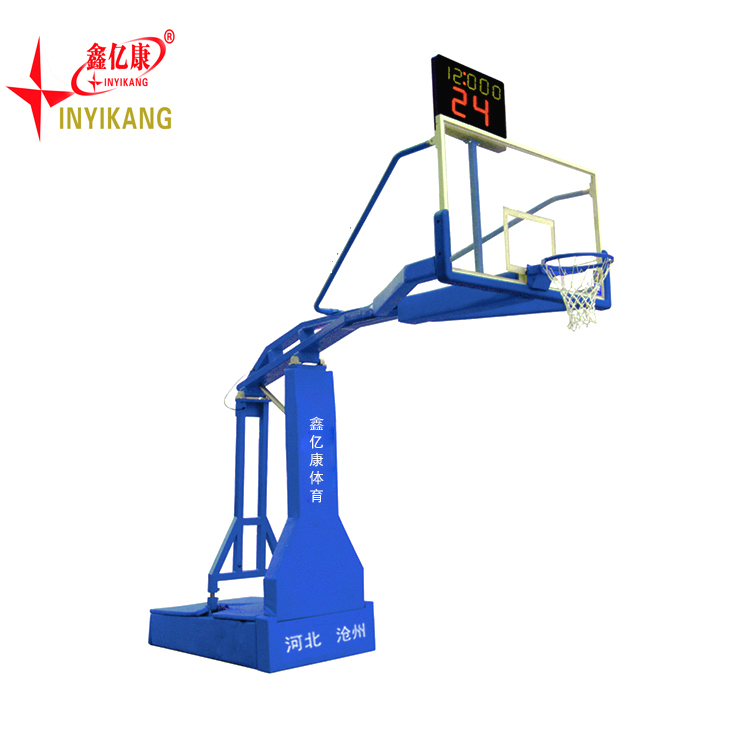 Removable tempered glassout door basketball stand with base and net