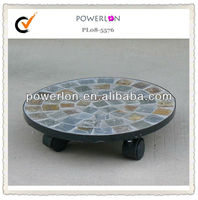 Round Mosaic outdoor planters stands with wheels